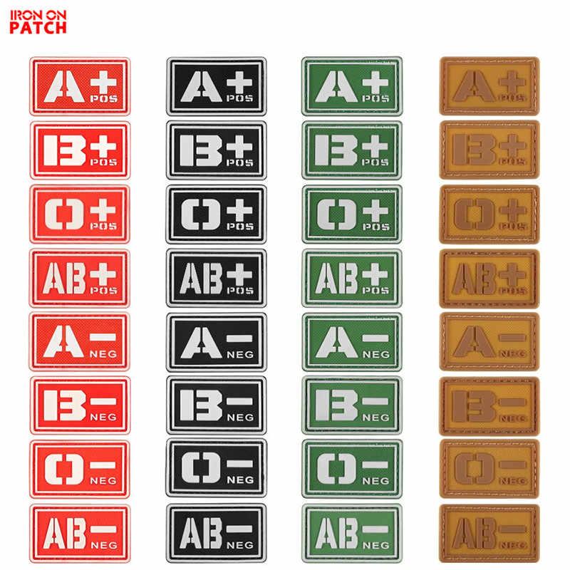 B positivo cinta marca VELCRO® Parche táctico sangre IRR de 5 x 2,5 cm B