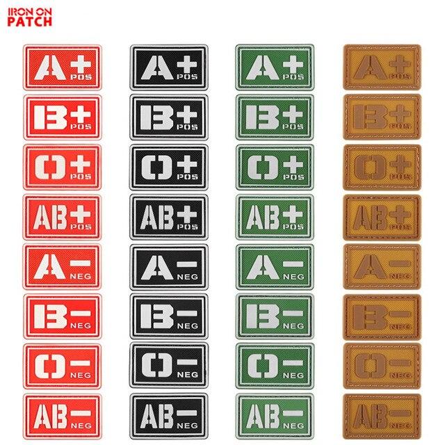 Нашивка с группой крови A + B + AB + O + Положительный A B AB O + POS A-B-AB-O-NEG-отрицательный значок ПВХ Боевая тактическая армейский крючок патч
