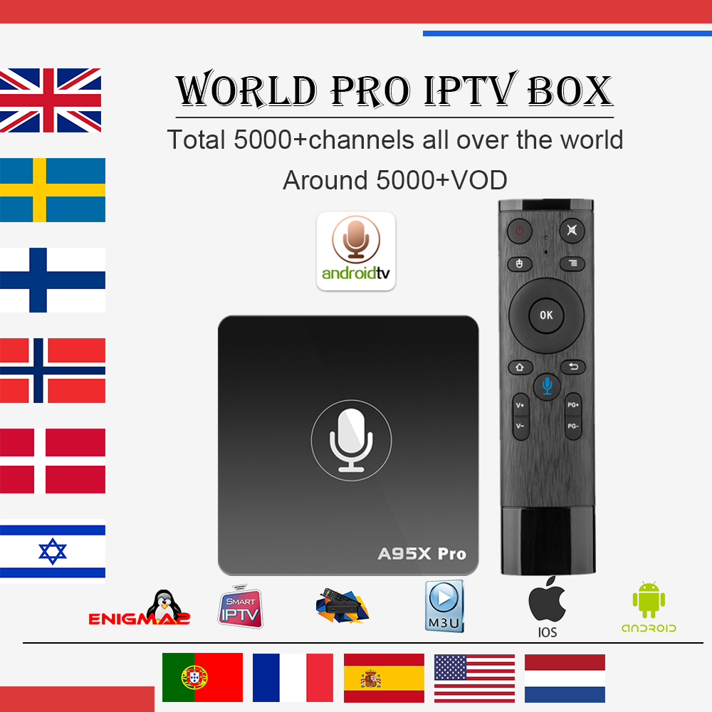 Best World IPTV A95X PRO Android 7.1 tv box 2G 16G with 1 year 5000+Live Arabic Dutch Israel UK USA Sweden smart tv set top box a95x pro voice control with 1 year italy iptv box 2g 16g italy iptv epg 4000 live vod configured europe albania ex yu xxx
