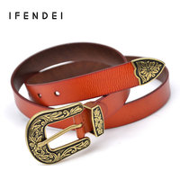 IFENDEI Fashion Belt Women Vintage Split Thick Leather Belts High Quality Wild Ladies Flower Print Pin
