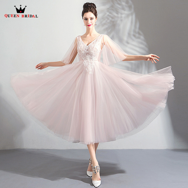 Tea Length A Line Tulle Lace Beading Flowers Pink Short Formal
