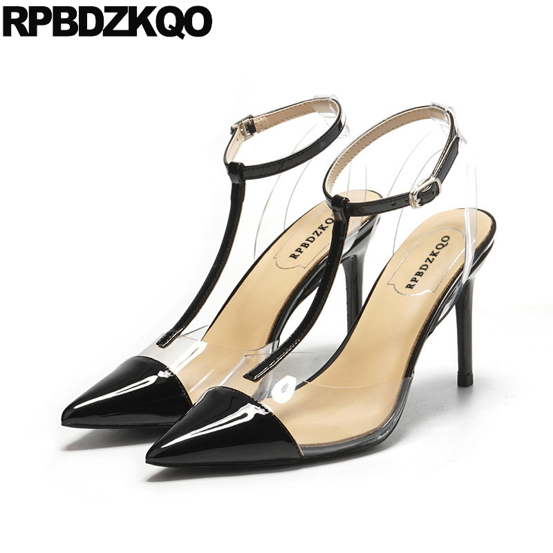 Pointed Toe Plus Size Slingback Red Stiletto Pumps Shoes Scarpin Transparent High Heels Patent Leather Women T Strap Pvc Black цена