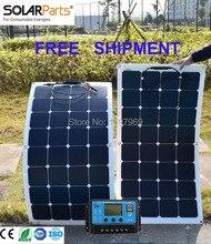 Envío libre Solarparts 2 UNIDS 100 W solar flexible panel campista celular módulo solar RV barco del coche RV del barco 12 V cargador de batería caravana