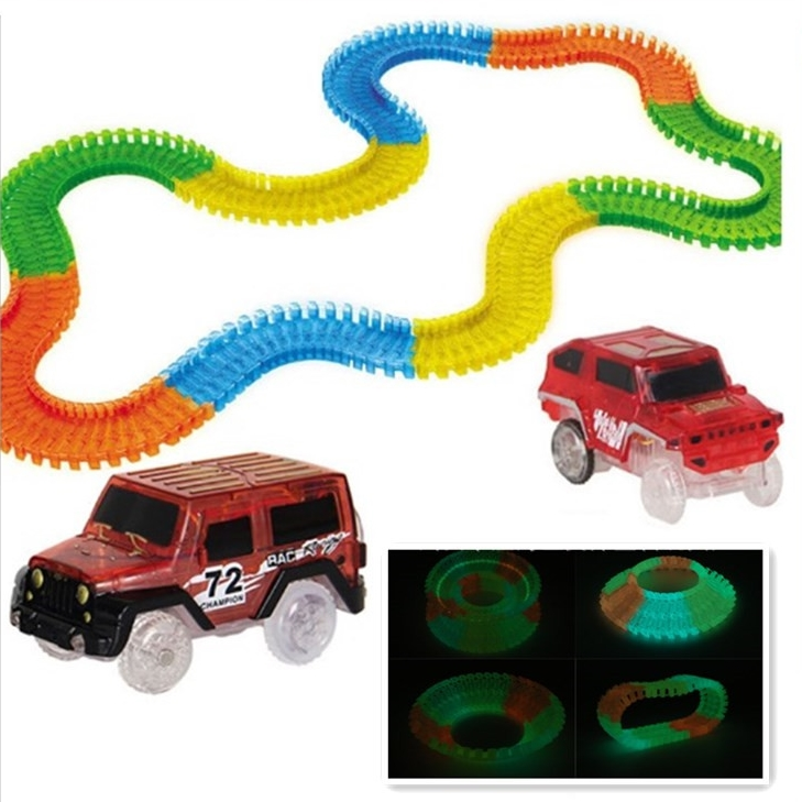 Racing light up Cars for Magic Luminous Track Electronics Car Toys With Flashing Lights Fancy DIY Toy cars For Kid For Children