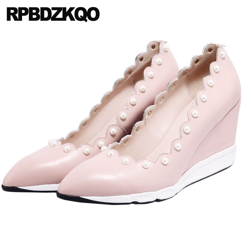 High Heels Wedge Wedding Shoes Genuine Leather Special Women Pearl Pink Pumps 8cm Size 4 34 2018 Pointed Toe Japanese Kawaii цена и фото