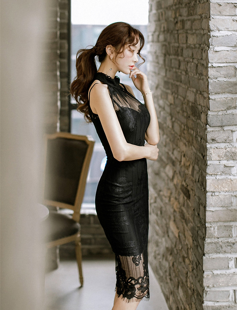 2018 Fashion Lace Dress Sexy Formal Black Bodycon Dresses Work Vintage Slim Sexy Hollow Out Summer Vestidos