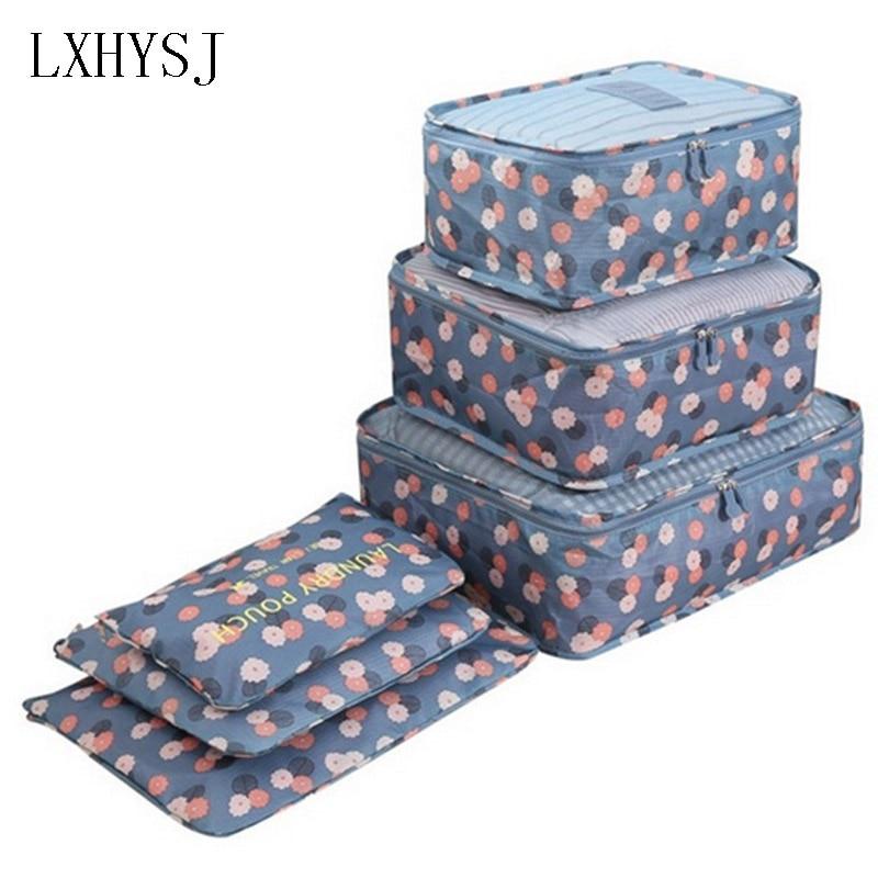 6PCS/Set Fashion Oxford Cloth Travel Mesh Bag Luggage Organizer Packing Cube Organiser Travel Bags