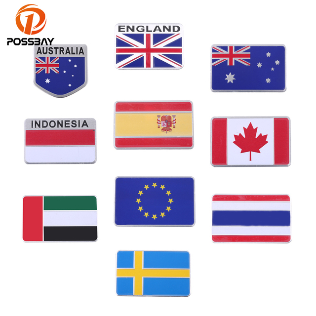 Possbay car flag stickers car auto 3d aluminum spain canada england national flag