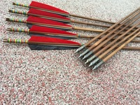 12PK Handmade Printing Bamboo Arrows Red Turkey Feather Target Practice Arrows