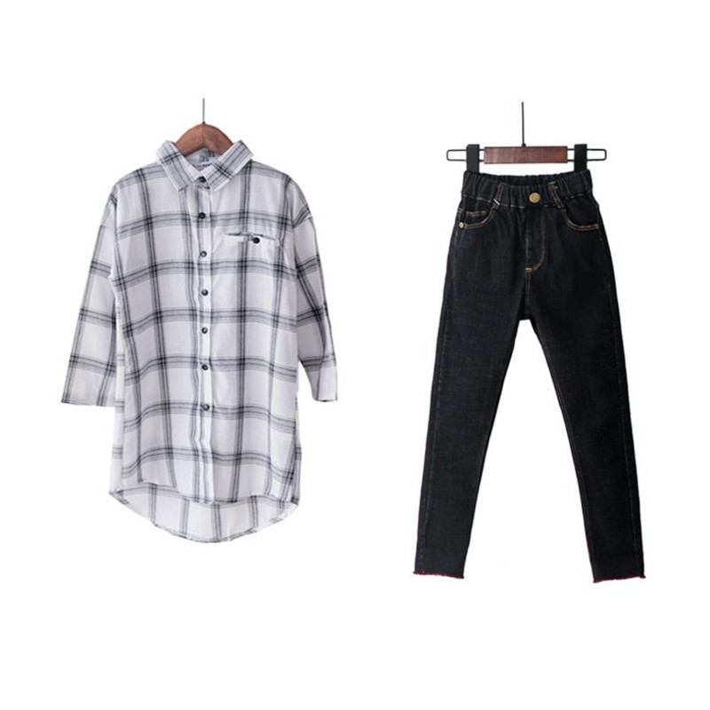 DFXD High Quality Teen Girls Clothing Sets 2018 New Autumn Girls Cotton Long Sleeve Plaid Long Blouse+Black Skinny Jeans 5-14Y high waist jeans rushed cotton zipper fly high plaid loose 2016 korean women summer new straight scraping hole cutoff jeans