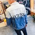 Vintage Denim Jacket Men 2016 Fashion Slim Fit Turn-Down Collar Hip Hop Jacket Gradient Letters Printed Jeans Jacket Men M-5XL