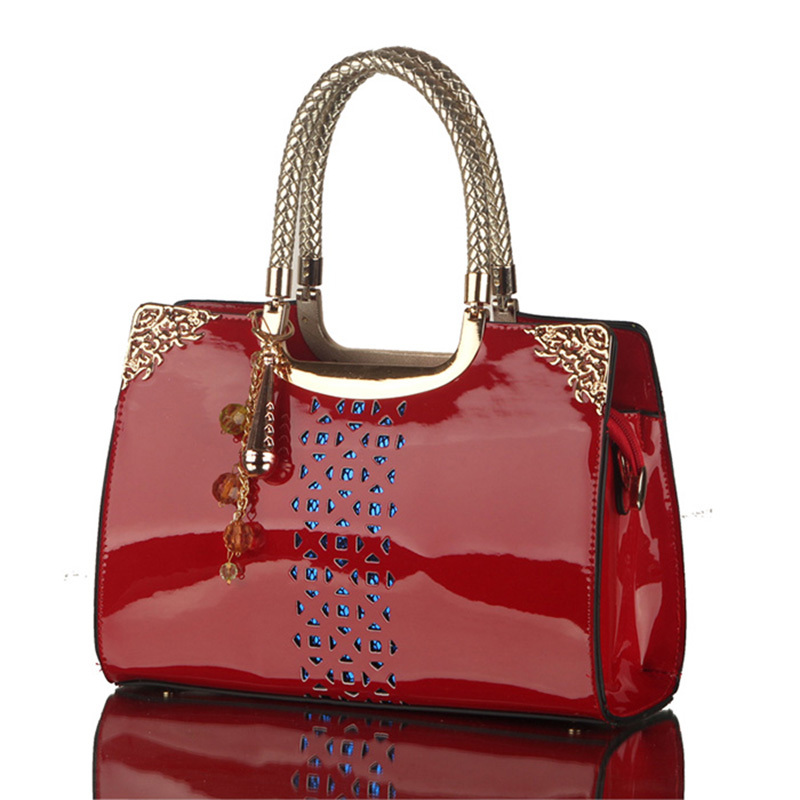 red and black handbags