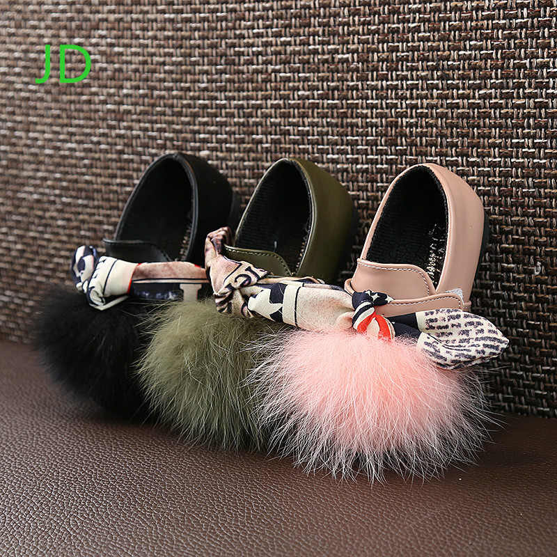 Style Wind Girls Leisure Single Shoes Butterfly Knot Flat Bottom Leisure Dance Small Leather Shoes Girls Plush Princess Shoes