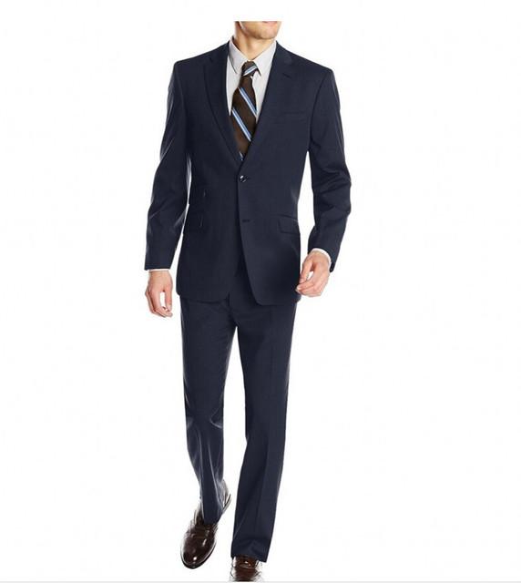 2017 New Arrival Outono Inverno Clássico Fit Custom Made casamento Do Noivo Smoking Notch Lapela Padrinho de casamento Dos Homens Ternos de Casamento (Jacket + calças)