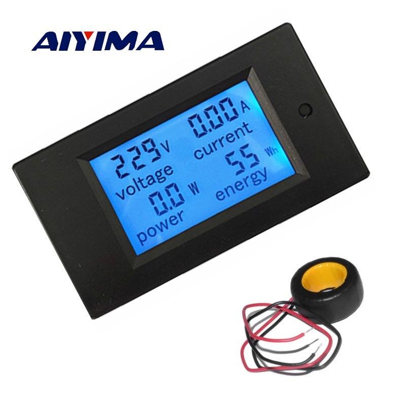 AIYIMA AC 80-260V 0-100A Voltage Volt Current Meter AC 100A Digital LCD Wattmeter Power Energy Amperemeter 110V 220V Meters