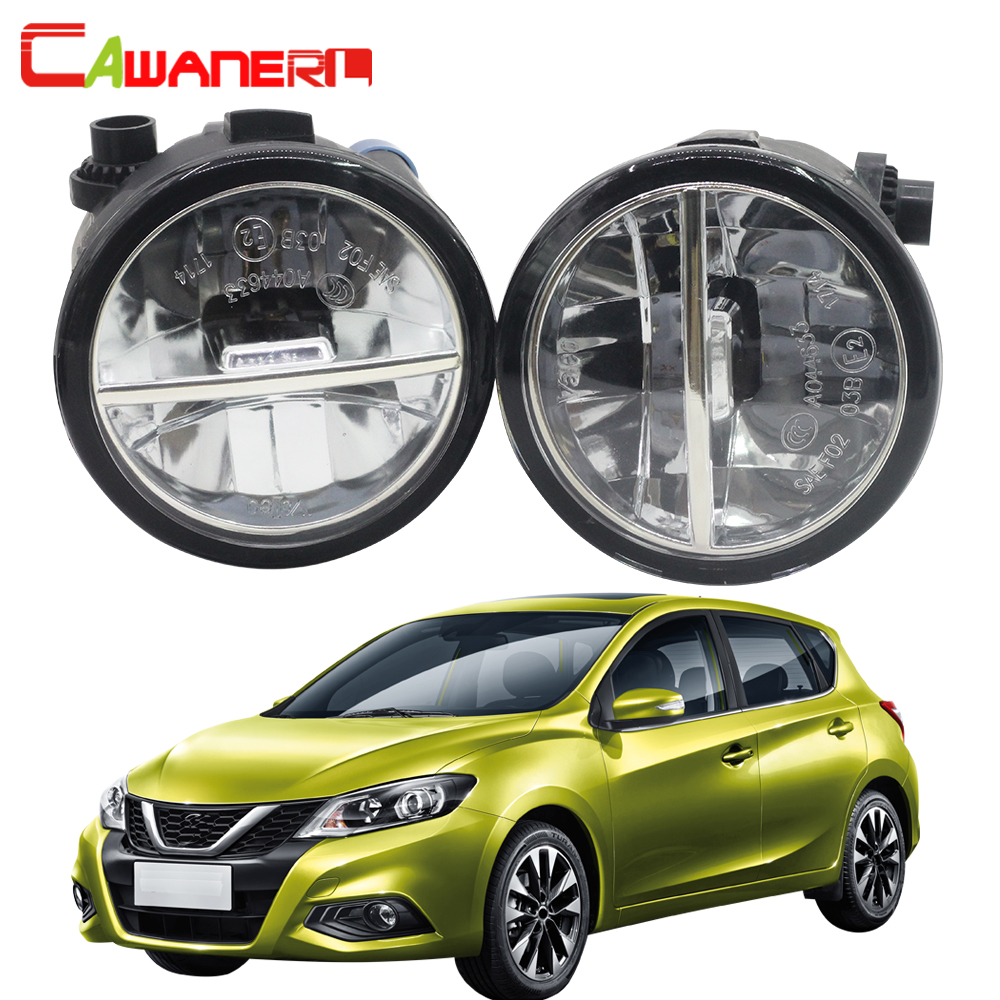 Cawanerl For Nissan Tiida 2007-2012 2 Pieces Car Accessories LED Bulb Fog Light 4000LM 6000K DRL Daytime Running Lamp White 12V nissan tiida 5d 2007