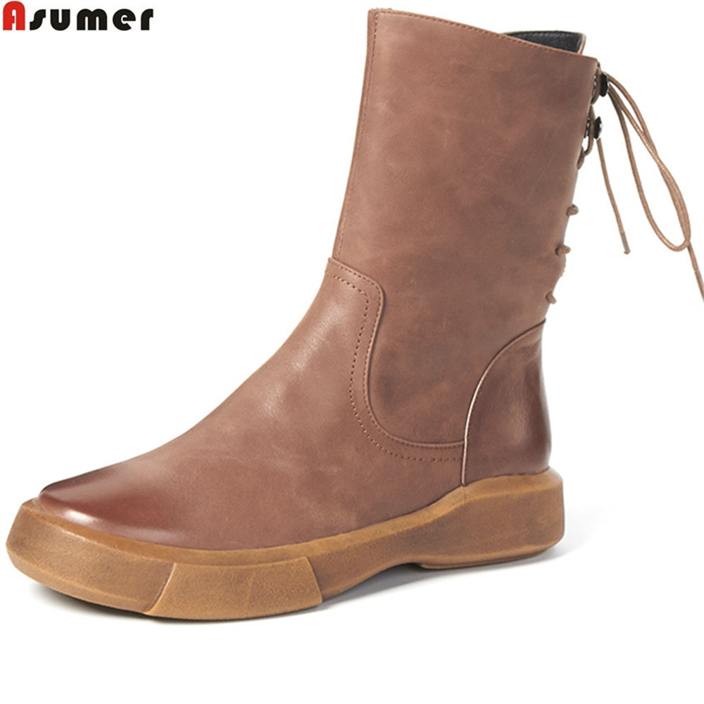 ASUMER 2018 fashion autumn winter women boots flat with genuine leather boots round toe cross tied cow leather ankle boots ladies casual lace up flat ankle boots fashion round toe plain cow leather boots for women female genuine leather autumn boots