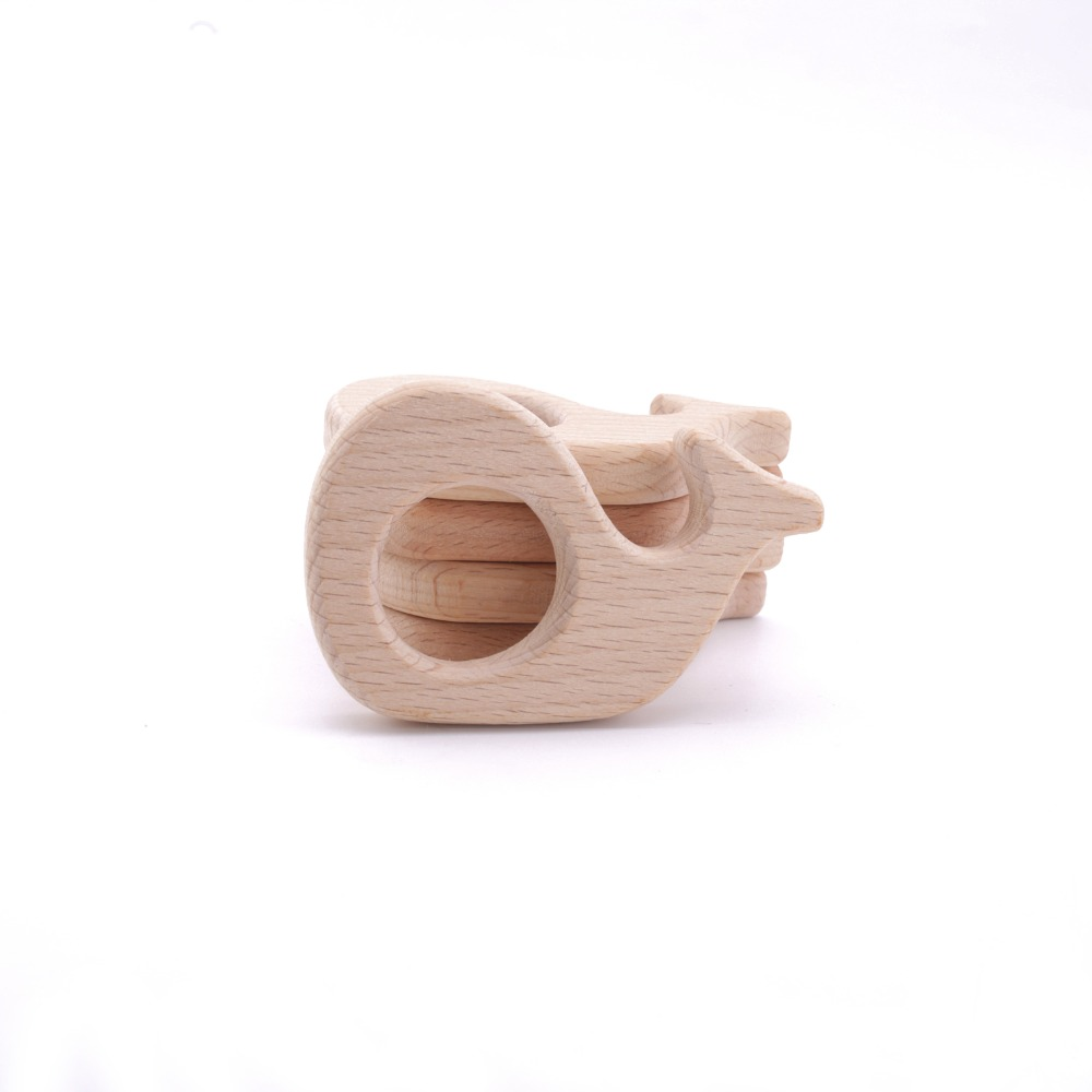 10pc Natural Handmade Bracelet Pendant Accesory Charms Wooden Beech Wood Whale Teething Grasping Toy Inspired Baby Toys Teethers
