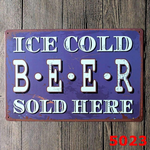 BEER SOLD HERE Vintage Tin Signs Home Decor Bar Lounge Club Decorative  Retro Metal Signs Painting