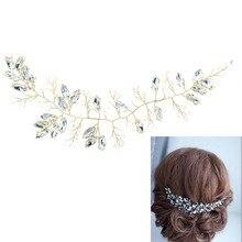 Rhinestone Crystals Soft Headband Hair Chains Headband Women Party Wedding Bride Bridal Hair Jewelry Accessories TD23GOL