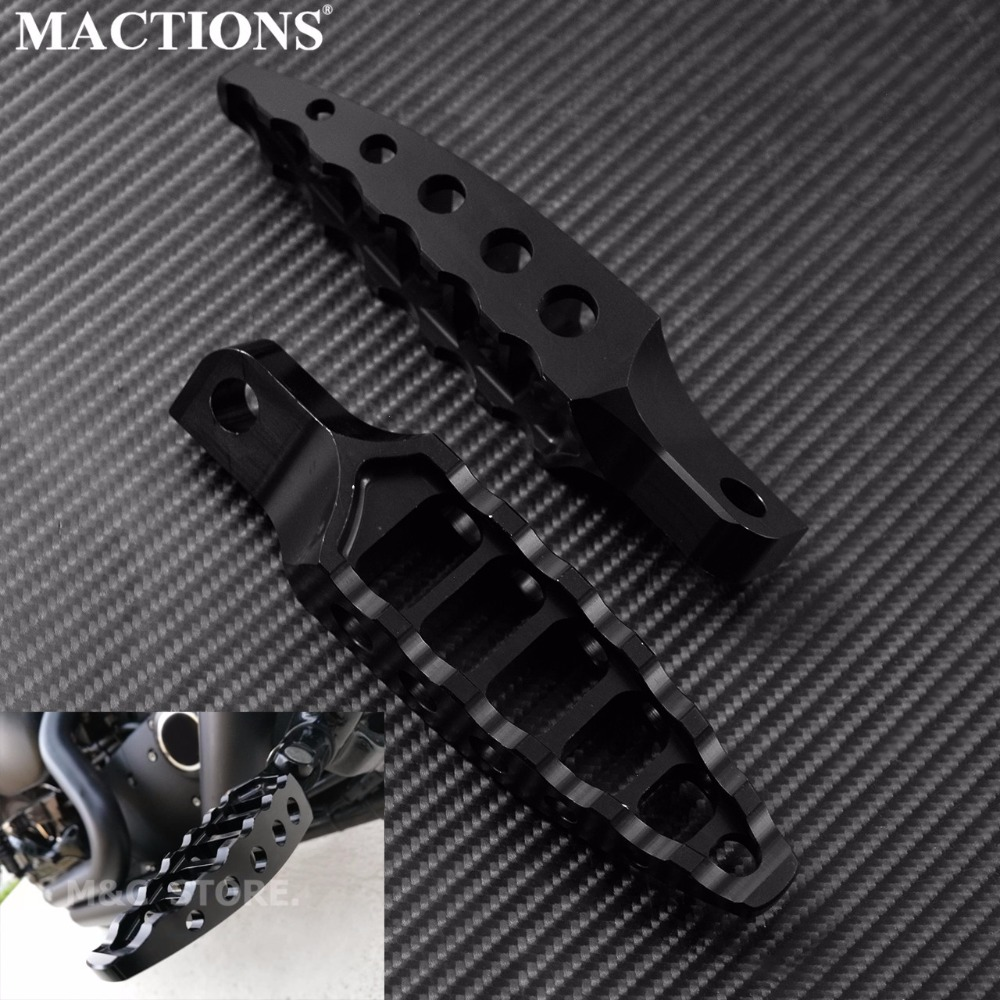 Motorcycle Black CNC 45 Degrees Male-Mount Footrests Foot Pegs For Harley Sportster 883 1200 Dyna Softail Touring 1993-2015 2016