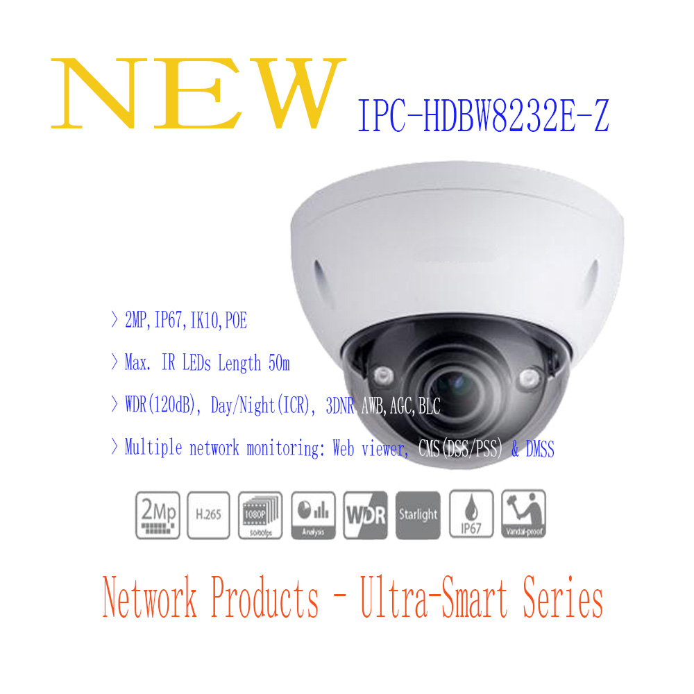 Free Shipping DAHUA Security IP Camera 2MP Starlight IR Dome Network Camera IP67 IK10 with POE