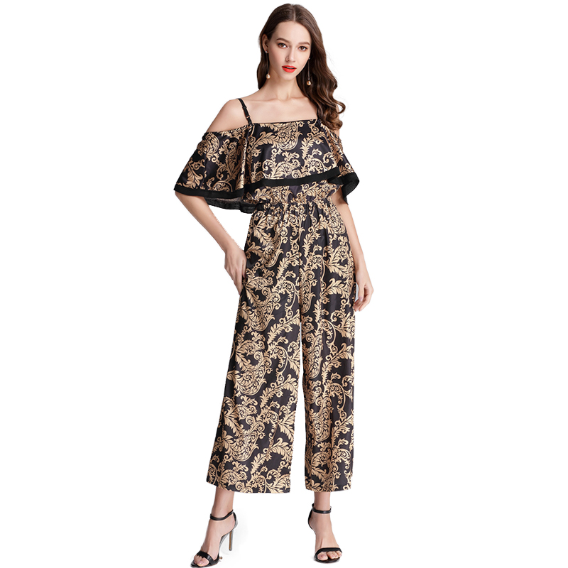 vintage totem print Backless Halter Wide Leg Party Jumpsuit Black short Sleeve High Waist Women elegant spaghetti strap Jumpsuit