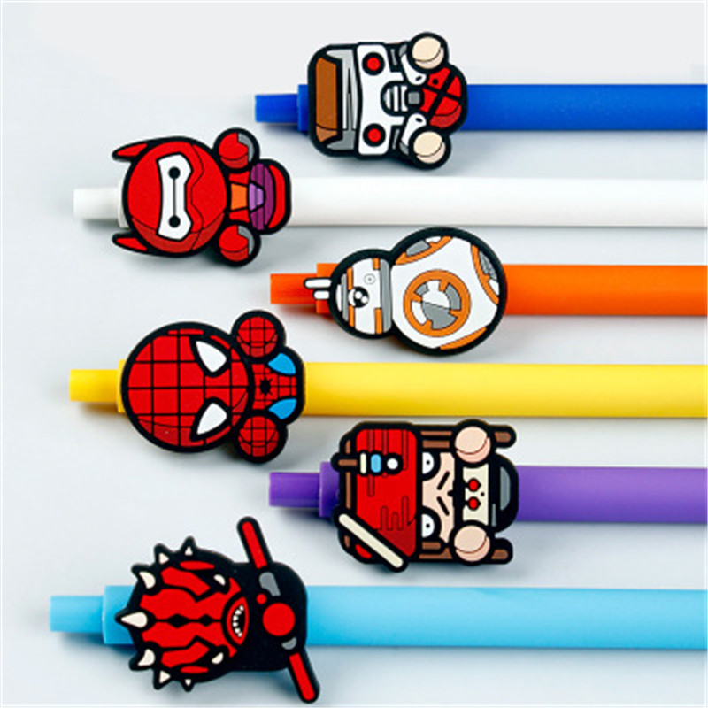 Image 2 - Star wars Cute Gel Pen Kawaii Gel Pen 0.5mm Black ink Candy color pens spider man for Kid Gift escritorio Papelaria-in Gel Pens from Office & School Supplies