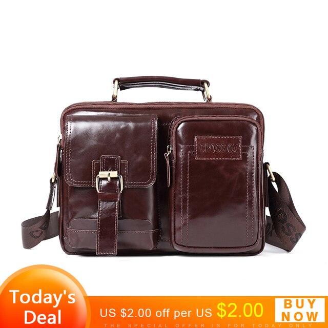 CROSS OX New Arrival Men Handbag Genuine Leather Shoulder Bag Casual Style  Oil Wax Cow Leather Functional Satchels Bag SL426M c275aa839ebd4