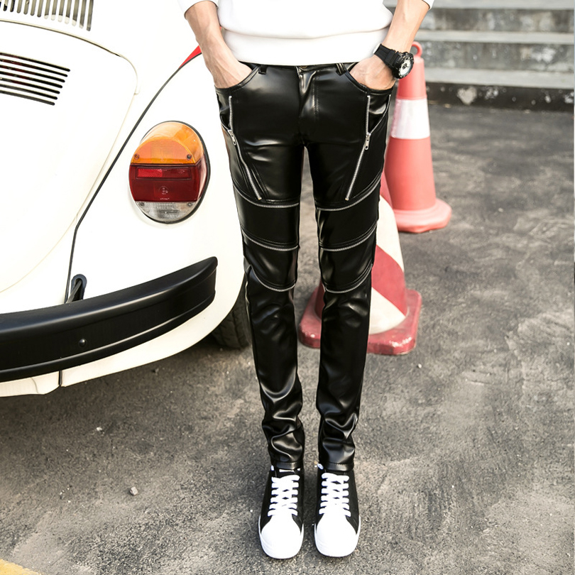 DJ Swag Skinny Mens Faux Leather PU Tight Black Joggers Biker Pants For Men Boys With