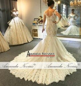 Image 5 - 2020 Designer mermaid wedding dress amanda novias real work full beading bridal make up