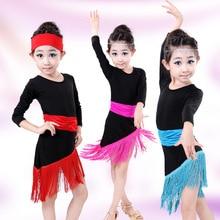Kinder tanzen Kostüm Mädchen Latin Kleid Sequin Fringe Cocktail Latin Salsa Kleider Quaste Ballett childdancing Kleid 16