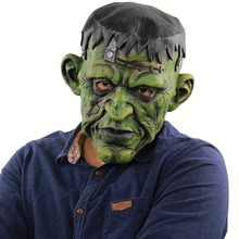 Mens Universal Deluxe Overhead Mask, As Shown Headpiece Halloween Evil Scary Devil Green Monsters Horror Zombie Mask