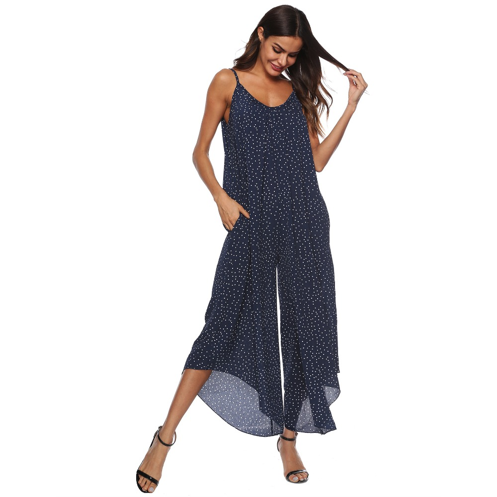 PGSD New female spring summer Fashion street sexy V collar Suspender Backless Simple Wavelet point wide leg Women Jumpsuits XXXL in Jumpsuits from Women 39 s Clothing