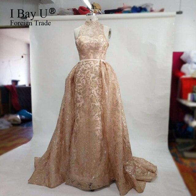 Foto nyata Mewah Glitter Panjang Evening Prom Dress 2017 New Arrival  Vintage Tinggi Neck Lace Mermaid 77466fec8912