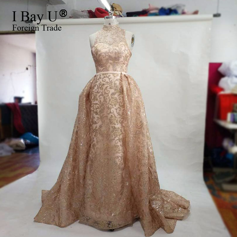 e65db77c3d US $215.0 |Real Photos Luxury Glitter Long Evening Prom Dress 2017 New  Arrival Vintage High Neck Lace Mermaid Puffy Arabic Party Gowns-in Evening  ...