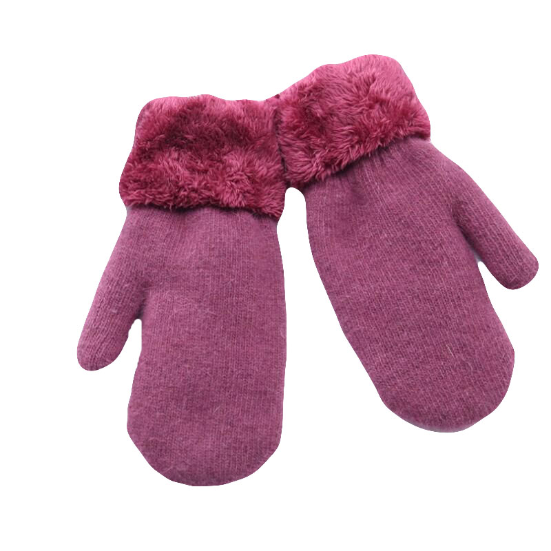 Trustful Beautiful Winter Woman Knit Wool Thicker Cashmere Warm Black Velvet Gloves Ladies Cute Fingerless Women Solid Mittens Gloves Sales Of Quality Assurance Back To Search Resultsapparel Accessories