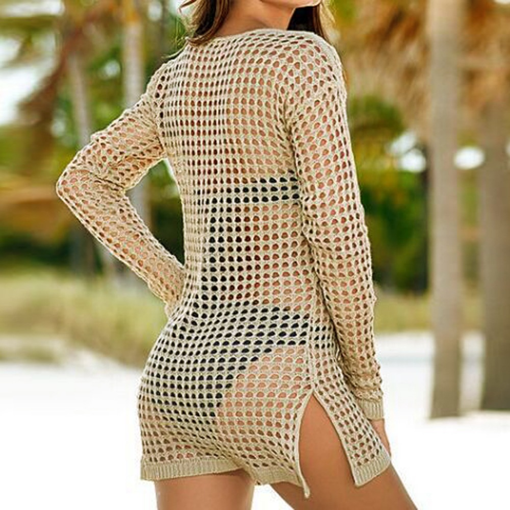 beach cover up Brand New Summer Women Sexy Mesh Knitted Crochet Swimsuit Dress Bikini Wrap Bathing Suit Cover Ups 3