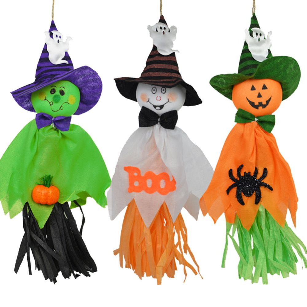 2pcs paper halloween home decoration scary ghost witch scarecrow horror creepy doll pendant - Halloween Scare Crow