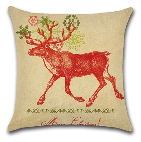 Image 3 - 2pcs Colorful Leaves Deer Red Snowflake Water Colored Gemetric Creative Animal Beautiful Pillow Cover Cushion Cover for Sofa-in Cushion Cover from Home & Garden