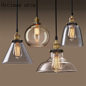 Simple North American style rural glass chandelier retro industrial wind restaurant study bedroom bar free shipping