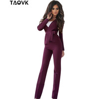 TAOVK women professional suits V shaped collar jacket with a sashes and Horn trouser 2 piece suit