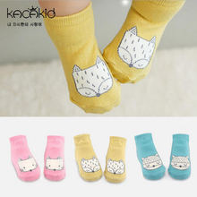 Baby socks Animal Infant Baby Fox Printed Cotton ankle socks Anti-slip Socks with rubber soles 0-2Y New new born acessorios