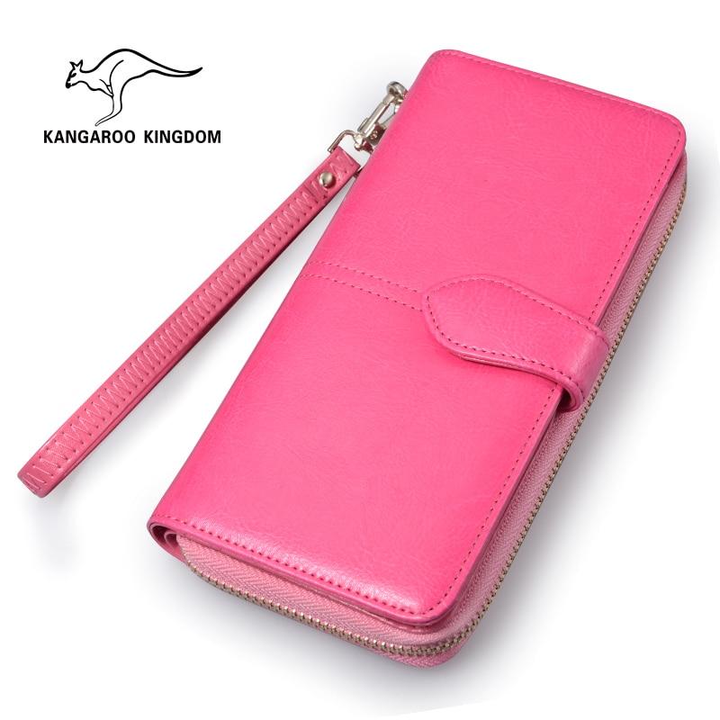 KANGAROO KINGDOM Fashion Brand Women Wallets Split Leather Long Clutch Purse Lady Zipper Hasp Card Holder Wallet