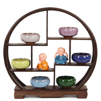 Antique Wooden Decoration Craft Treasure Cabinet Display Shelves Of Chinese Style Furnishing Articles Teapot Shelf