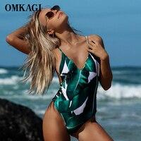 OMKAGI Latest One Piece Swimsuit Bodysuit Women Monokini Swimwear Printed Bathing Suit Summer Beachwear Maillot De