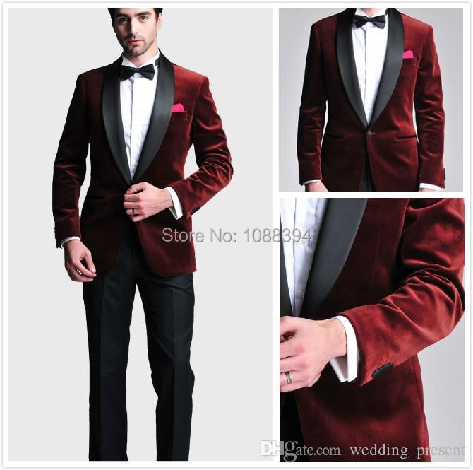 a427af2d40b Best Selling Tuxedos For Men Tailor Made Men Wedding Suit Burgundy Velvet  New Style One Button Groom Tuxedos Jacket+Pants+Bow