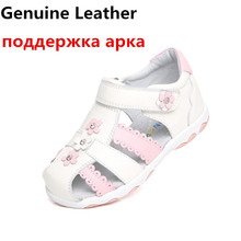 Summer 1 pair genuine leather Girl Children Sandals Orthopedic shoes, super quality Kids princess shoes