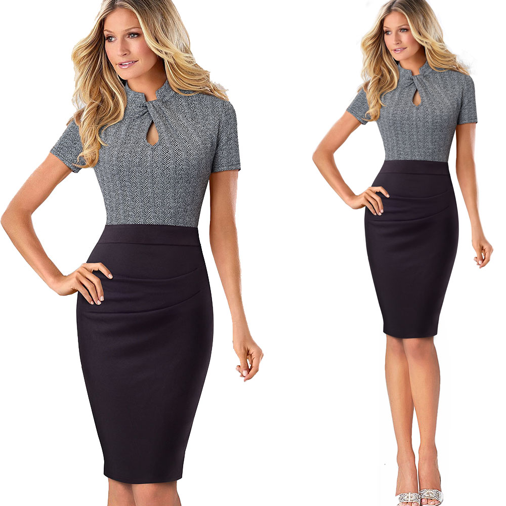 Nice-forever Vintage Contrast Color Patchwork Wear to Work Knot vestidos Bodycon Office Business Sheath Women Dress B430 32