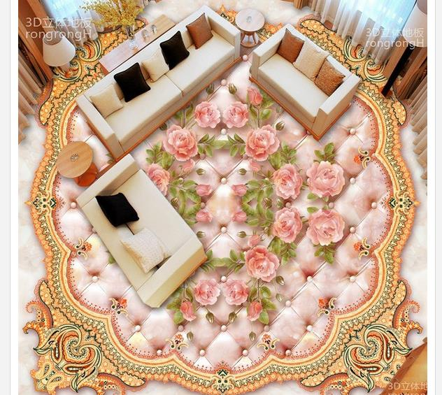3d flooring pvc floor wallpaper European rose marble relief 3D flooring waterproof wall murals 3d floor painting wallpaper wall sticker customized 3d floor tiles for livingroom welcome song marble stone relief floor wallpaper